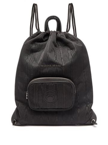 Matchesfashion.com Marine Serre - Logo-embossed Moir Drawstring Backpack - Womens - Black