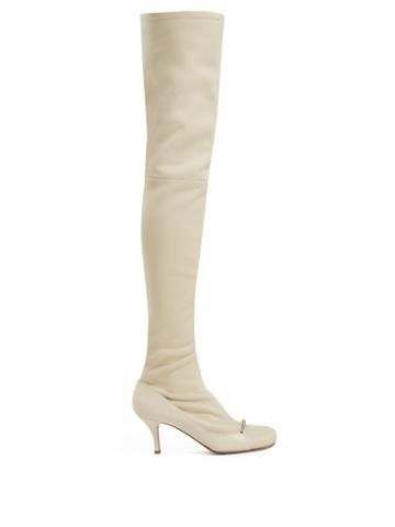 Matchesfashion.com Valentino - Ring Toes Over The Knee Leather Boots - Womens - Cream