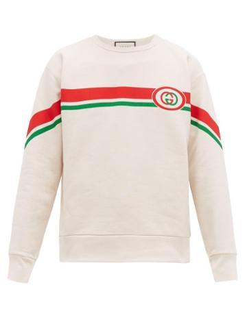 Matchesfashion.com Gucci - Web Striped Gg Print Cotton Sweatshirt - Mens - White