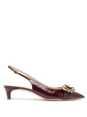 Matchesfashion.com Rupert Sanderson - Promise Crocodile Effect Leather Slingback Pumps - Womens - Burgundy