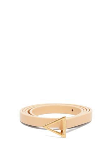Matchesfashion.com Bottega Veneta - Triangle-buckle Leather Belt - Womens - Beige Gold