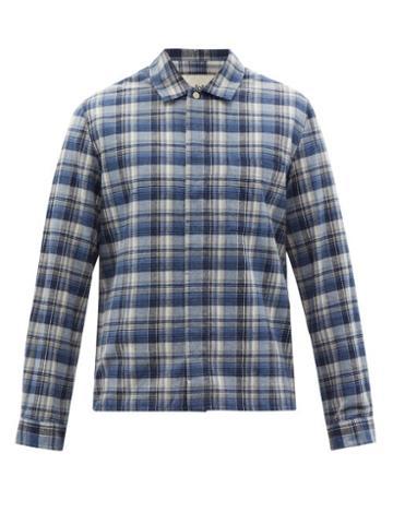 Matchesfashion.com Folk - Patch Check Cotton-twill Shirt - Mens - Blue Multi