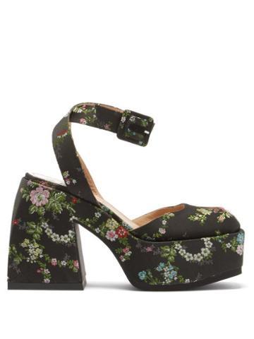 Matchesfashion.com Nodaleto - Bulla Sofia Floral-brocade Platform Pumps - Womens - Black Multi