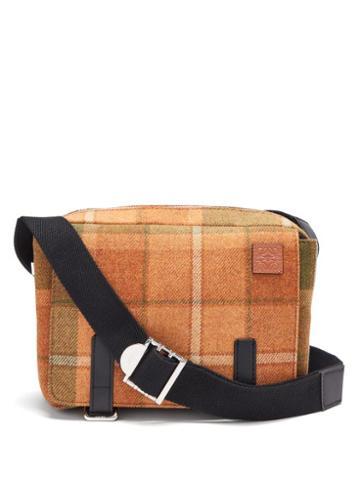 Matchesfashion.com Loewe - Military Xs Wool-tartan Messenger Bag - Mens - Tan
