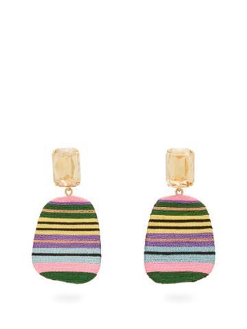 Matchesfashion.com Maryjane Claverol - Tijuana Stripe Clip Earrings - Womens - Multi