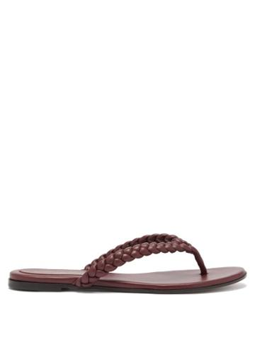Ladies Shoes Gianvito Rossi - Tropea Braided Leather Flip Flops - Womens - Brown