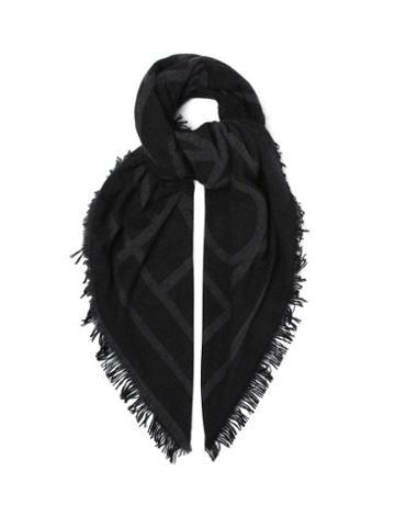 Matchesfashion.com Totme - Monogram-jacquard Wool-blend Scarf - Womens - Dark Grey