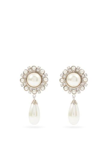 Matchesfashion.com Alessandra Rich - Crystal & Faux-pearl Drop Clip Earrings - Womens - Pearl