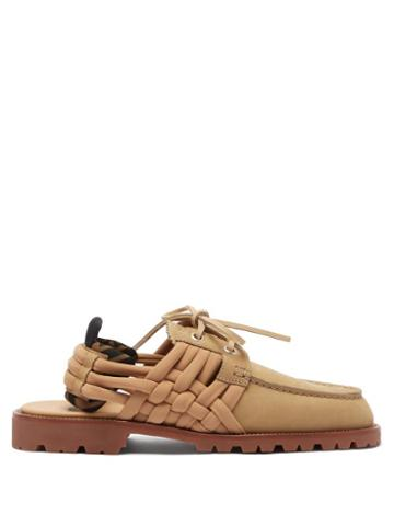Matchesfashion.com Fendi - Woven-strap Nubuck-leather Boat Shoes - Mens - Light Brown