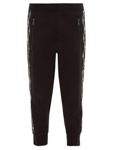 Matchesfashion.com Neil Barrett - Monogram Stripe Track Pants - Mens - Black