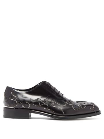 Matchesfashion.com Alexander Mcqueen - Stud Flame Leather Oxford Shoes - Mens - Black
