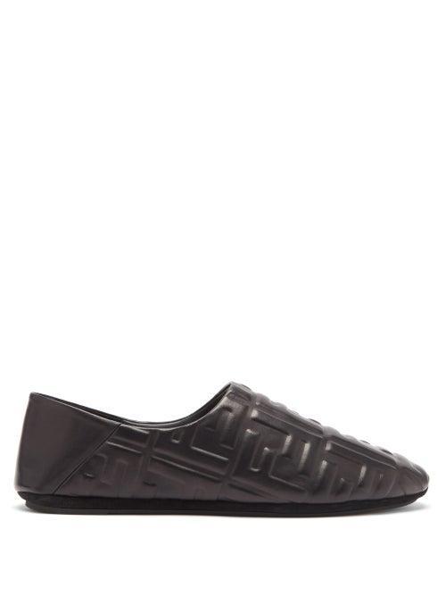Matchesfashion.com Fendi - Ff-embossed Leather Slippers - Mens - Black
