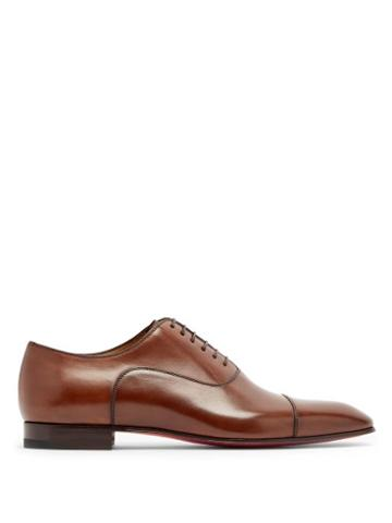 Mens Shoes Christian Louboutin - Greggo Leather Oxford Shoes - Mens - Brown