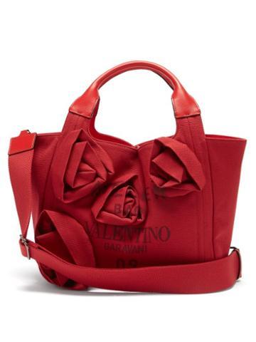 Valentino Garavani - Atelier Floral-appliqu Canvas Tote Bag - Womens - Red