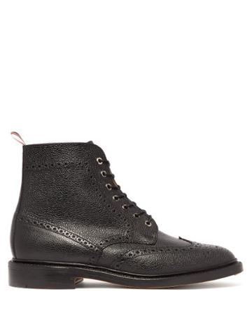 Matchesfashion.com Thom Browne - Wingtip Pebbled Leather Brogue Boots - Mens - Black