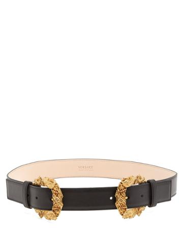 Versace Tribute Baroque Double-buckle Leather Belt