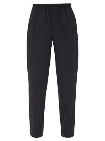 Matchesfashion.com Raey - Elasticated Waist Seersucker Stretch Wool Trousers - Mens - Navy