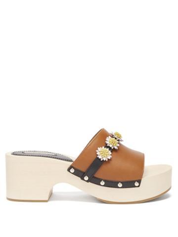 Ladies Shoes Fabrizio Viti - Dolly Floral-appliqu Leather Mule Clogs - Womens - Tan