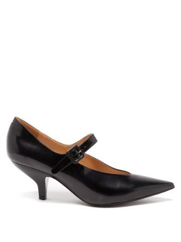 Matchesfashion.com Maison Margiela - Point-toe Leather Mary Jane Shoes - Womens - Black