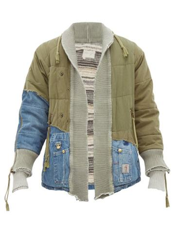 Matchesfashion.com Greg Lauren - 50/50 Vintage Army Panel Denim Jacket - Mens - Green Multi