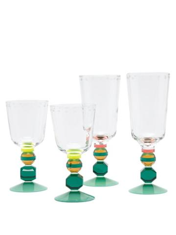 Matchesfashion.com Reflections Copenhagen - Set Of Four Mayfair Crystal Glasses - Clear Multi