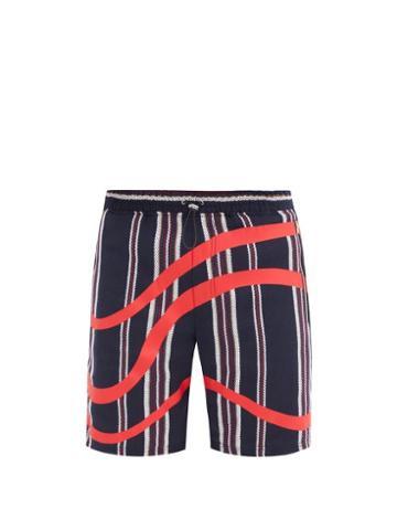 Matchesfashion.com Ahluwalia - Striped Cotton-hopsack Shorts - Mens - Navy Multi