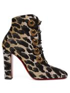 Matchesfashion.com Christian Louboutin - Lady See 85 Leopard Lurex Ankle Boots - Womens - Leopard
