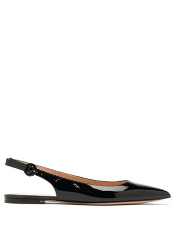 Matchesfashion.com Gianvito Rossi - Anna Point-toe Patent-leather Slingback Flats - Womens - Black