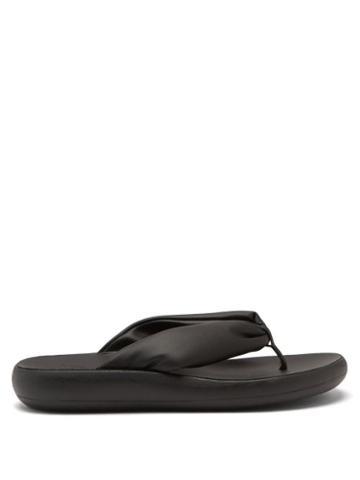 Ladies Shoes Ancient Greek Sandals - Charisma Padded-strap Leather Flip Flops - Womens - Black