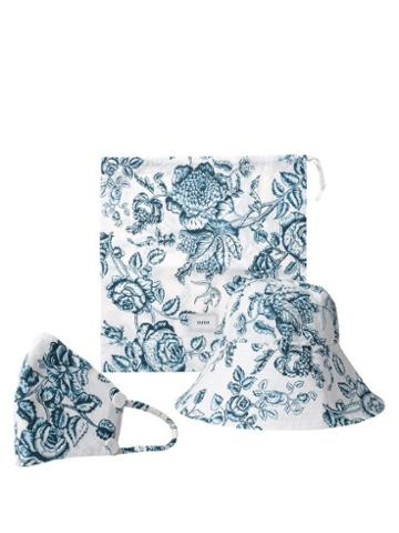Matchesfashion.com Erdem - Floral-print Bucket Hat And Face Covering - Womens - Blue White