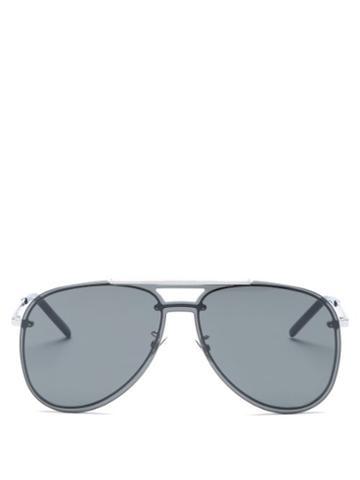 Matchesfashion.com Saint Laurent - Logo-engraved Aviator Metal Sunglasses - Mens - Silver