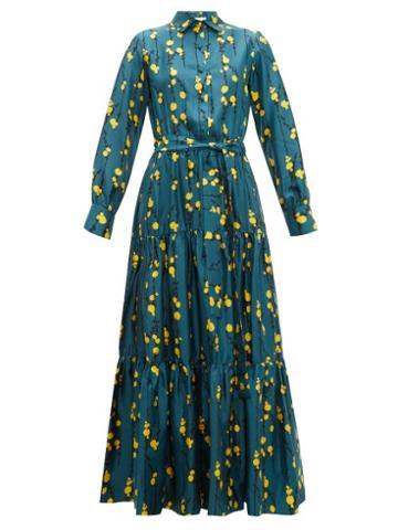 Matchesfashion.com La Doublej - Bellini Floral Print Silk Twill Tiered Shirt Dress - Womens - Green Print