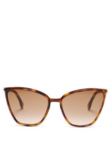 Matchesfashion.com Fendi - Baguette Cat-eye Acetate Sunglasses - Womens - Brown