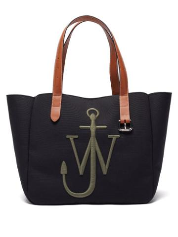 Matchesfashion.com Jw Anderson - Belt Anchor-embroidered Canvas Tote Bag - Mens - Black Multi