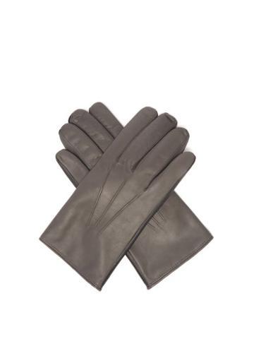 Matchesfashion.com Paul Smith - Bi-colour Leather Gloves - Mens - Grey