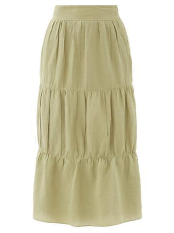 Matchesfashion.com Adriana Degreas - High-rise Tiered Voile Midi Skirt - Womens - Light Green