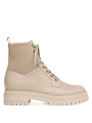 Matchesfashion.com Gianvito Rossi - Martis Leather Ankle Boots - Womens - Beige