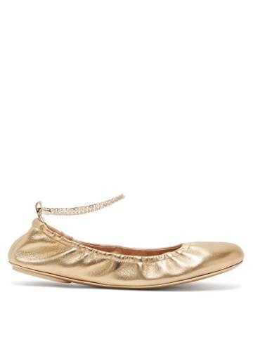 Matchesfashion.com Gianvito Rossi - Crystal-embellished Anklet-chain Leather Pumps - Womens - Gold