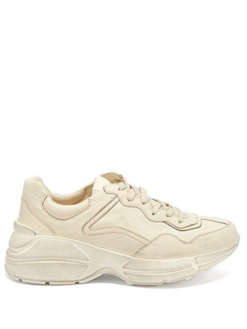Matchesfashion.com Gucci - Rhyton Leather Trainers - Womens - Cream