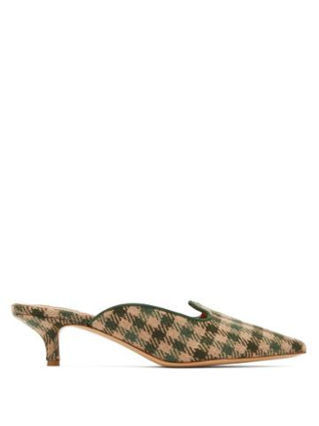 Matchesfashion.com Giuliva Heritage Collection - X Le Monde Beryl Checked Kitten Heel Mules - Womens - Green Multi