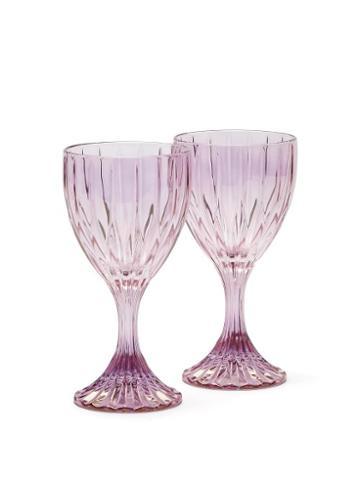 Matchesfashion.com Luisa Beccaria - Set Of Two Wine Glasses - Purple