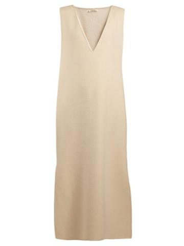 Matchesfashion.com The Row - Neila V Neck Cashmere And Wool Blend Dress - Womens - Cream