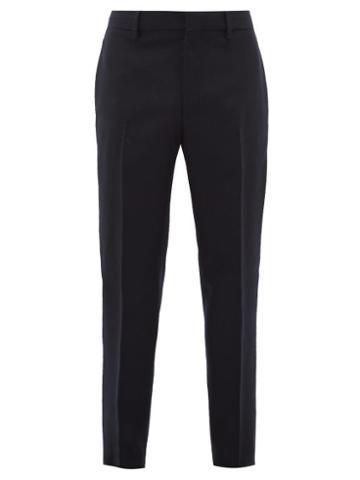 Matchesfashion.com Bottega Veneta - Tapered Leg Felt Trousers - Mens - Navy