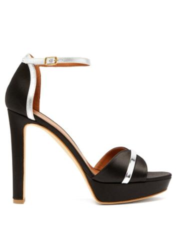 Matchesfashion.com Malone Souliers - Miranda Satin Platform Sandals - Womens - Black Silver