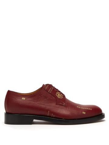 Matchesfashion.com Vetements - Passport Print Leather Derby Shoes - Mens - Burgundy