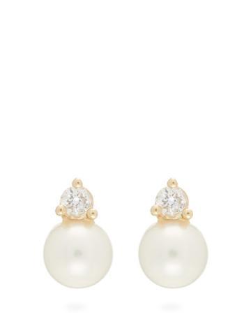 Matchesfashion.com Mizuki - Diamond & Pearl Earrings - Womens - Pearl