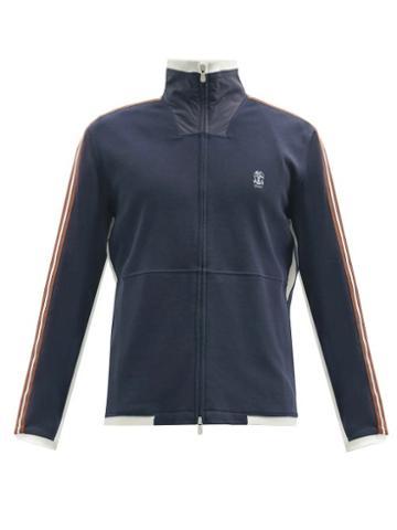 Matchesfashion.com Brunello Cucinelli - Ribbon-stripe Cotton-blend Jersey Track Jacket - Mens - Navy