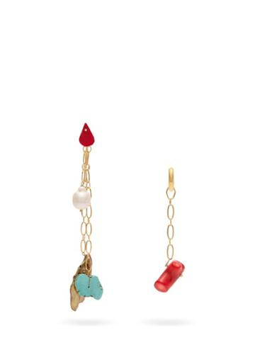Matchesfashion.com Timeless Pearly - Mismatched Chain Drop Earrings - Womens - Multi