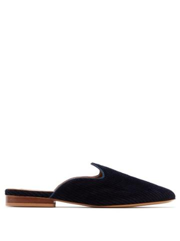 Matchesfashion.com Giuliva Heritage Collection - Venetian Corduroy Mules - Womens - Navy