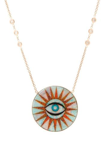 Matchesfashion.com Jacquie Aiche - Eye Burst Opal & 14kt Rose Gold Necklace - Womens - Blue Multi